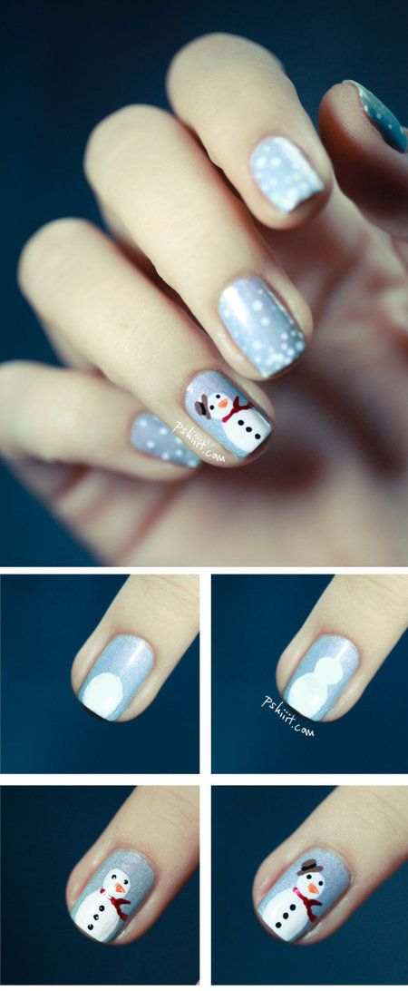 Pazzie #natalizie!  Le unghie si trasformano in piccoli quadretti... con pupazzi di neve. Un #tutorial carinissimo su come ottenere quest'effetto! #tutorial #snowman #christmas #nails #nailart #nailpolish #naillacquer #polishaddict - bellashoot.com #holidaynails #Partynails #cute