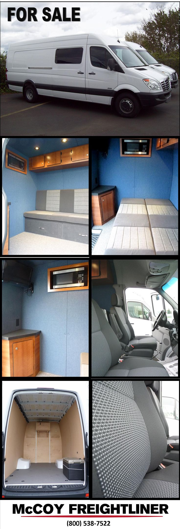 Sprinter Van for sale!  Toy Hauler, Weekend Traveler, Full Size couch to bed, near vertical walls, microwave, flat screen tv.