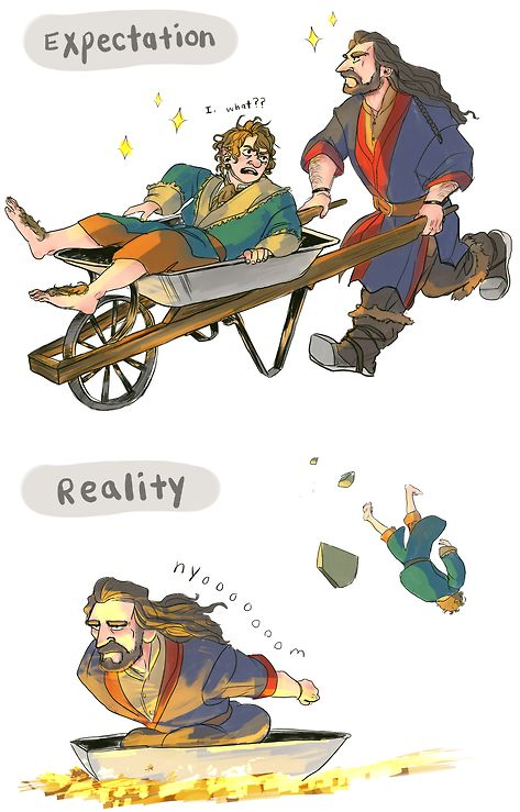 I honestly was confused when Thorin started running around with a wheelbarrow