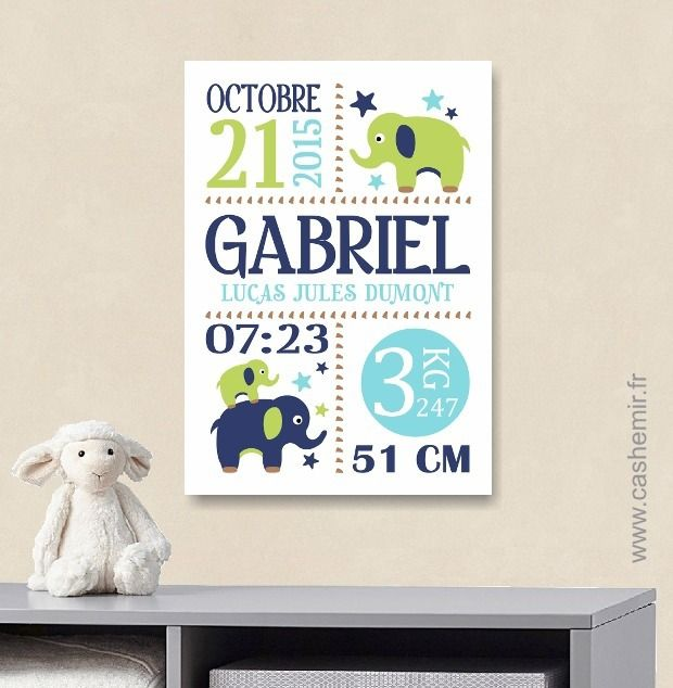 Cadeau de naissance bébé, stats de naissance, décoration chambre