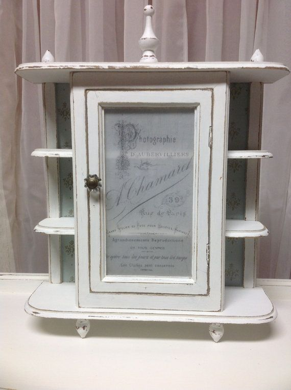 Shabby French Small Curio Cabinet Wall Hanging Painted Cottage White