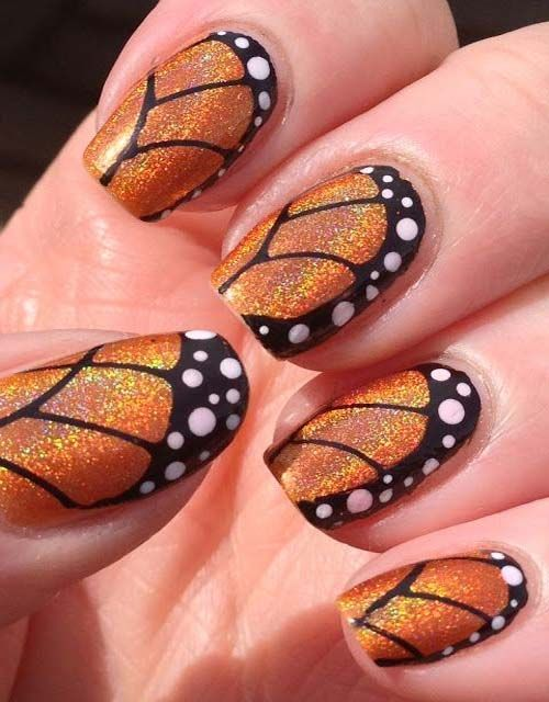 Black and orange nail art