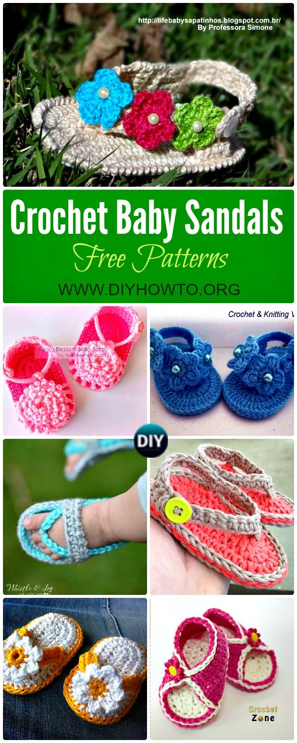 These Crochet Baby Sandals ( Flip Flops, Flower Sandals and striped sandals) are perfect baby gifts for Summer and all patterns are free. via @diyhowto