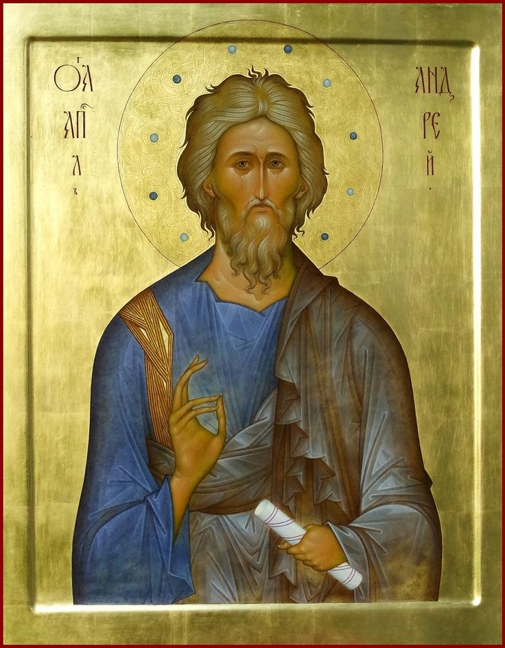 "29. St. apostle Andrew. 2013. Wood, gesso, tempera, gilding.  21,3""x 16,5"". Private collection (Moldova)."