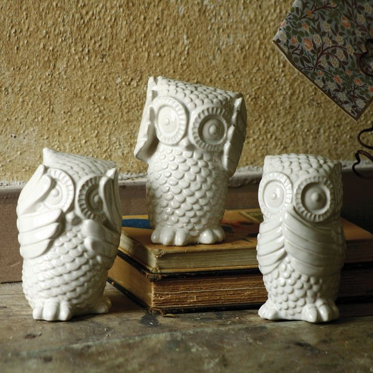Hear No, See No, Speak No Evil Owls: Owl Sets, Ceramics Owl, Ideas, Evil Owl, Cute Owl, Things, House, White Owl, Products