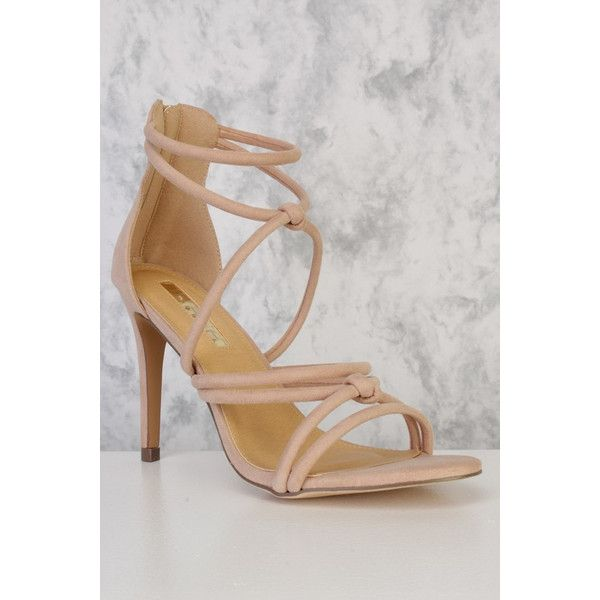 Honey couture maisie nude faux suede strappy heels (135 CAD) ❤ liked on Polyvore featuring shoes, pumps, faux suede pumps, faux suede shoes, strappy high heel shoes, strappy heel shoes and nude strappy shoes