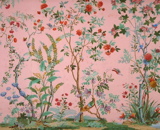 Vintage Pink Floral w/ Bird Wallpaper.  I love this and want it for my studio/office!