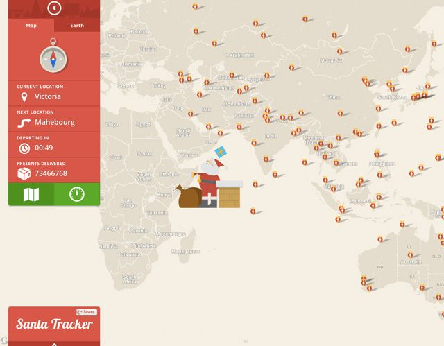 Google Santa fin Tracker, Follow Santa Around the World on Christmas Eve