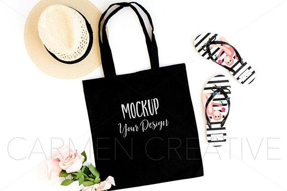 Download Black Canvas Tote Mockup Summer Style Tote Mockup Flat Lay Photo Feminine Chic Product Background Photoshop Mockup Free Mockup Ipad Mockup Psd
