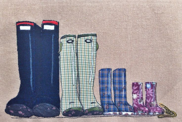 Country feel family of 4 wellies and dog lead