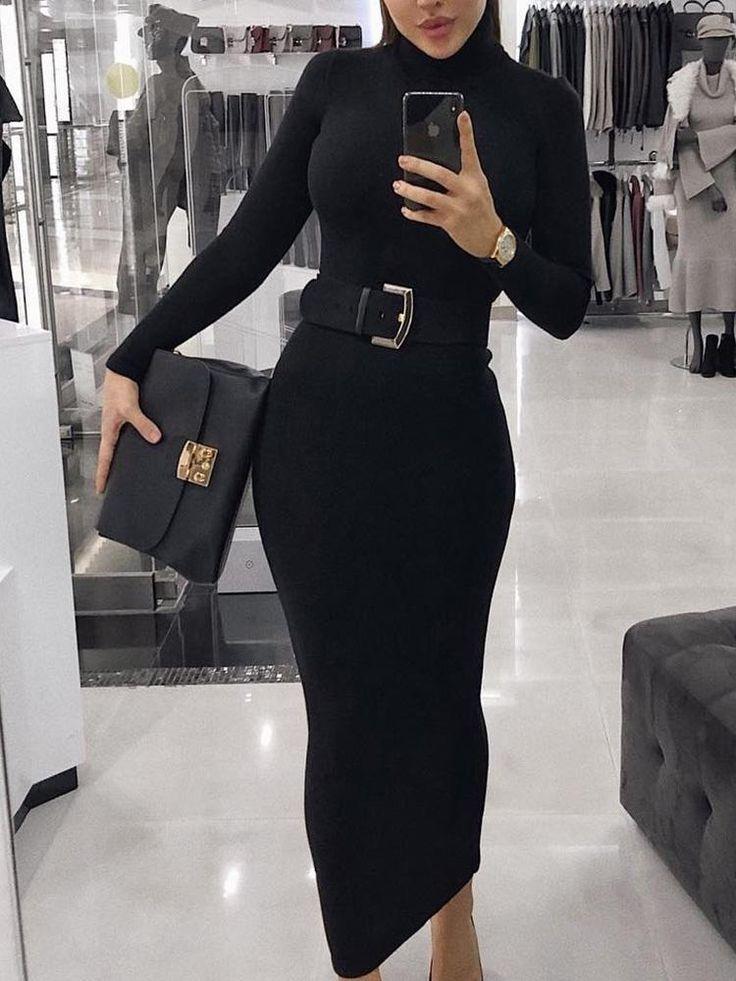 High Neck Long Sleeve Bodycon Dress (S/M/L/XL) $34.99 2