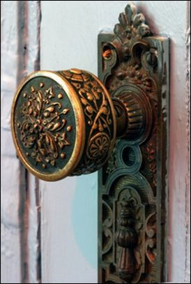 Beautiful - you don't see hardware like this anymore. Most Victorian homes, even a modest one, have beautiful hardware like this - not just the knobs but hinges too! No detail was over looked. Antique door hardware.
