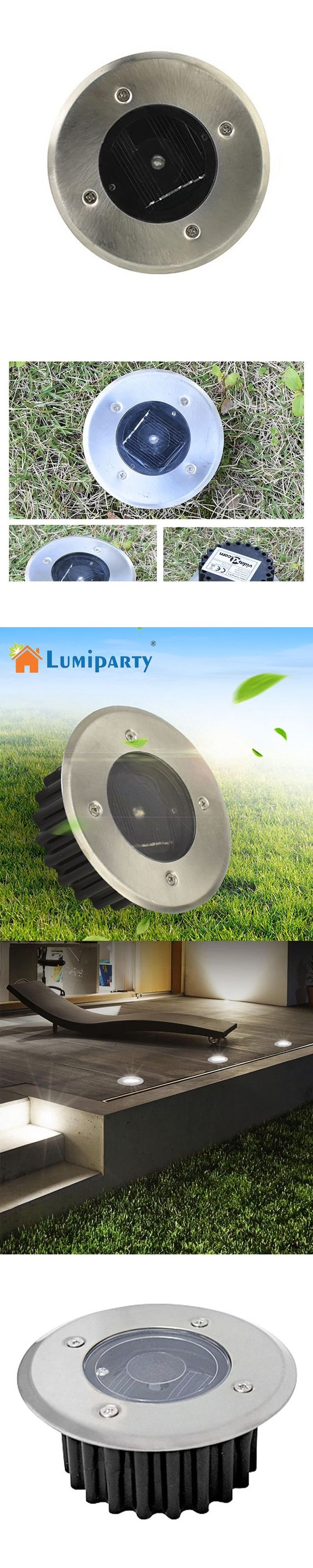 LumiParty Outdoor Solar LED Buried Floor Lights Waterproof Stainless Steel Ground Garden Lamp Solar Lighting for Yard Driveway
