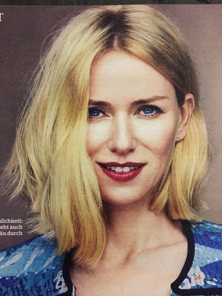 Naomi Watts asymmetric long bob hair cut is perfect - would be even better if she didn't bleach her hair #keepitnatural