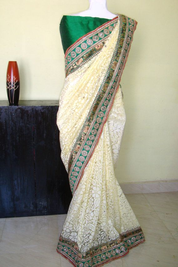 Pistachio color brasso net saree/women fashion by SabirCreations