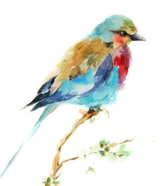 Lilac bird art print, bird watercolor print, colorful bird painting art, bright colors bird wall fine art print