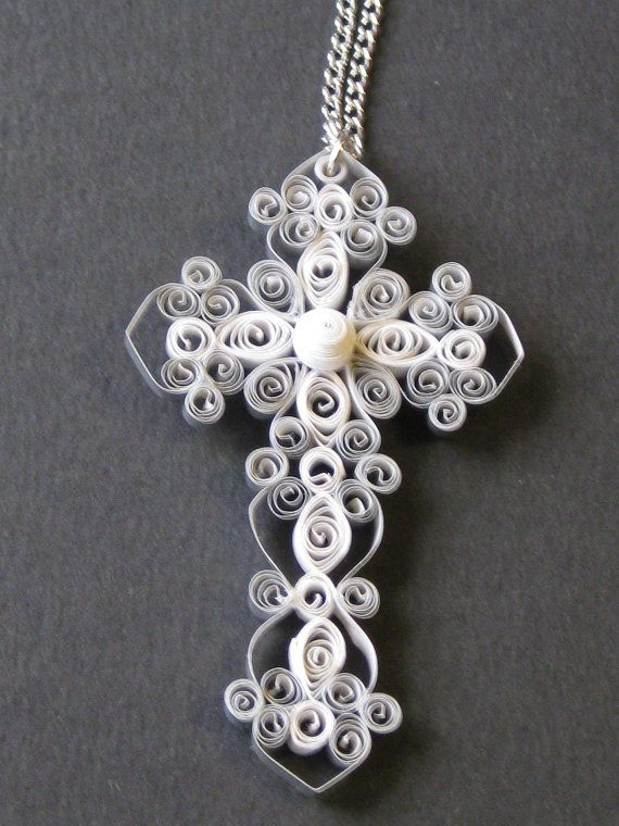 Silver Cross Necklace by QuillPaperTreasures on Etsy, $10.00