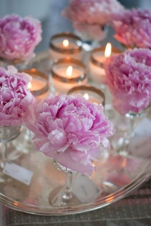 Candlelight and peonies