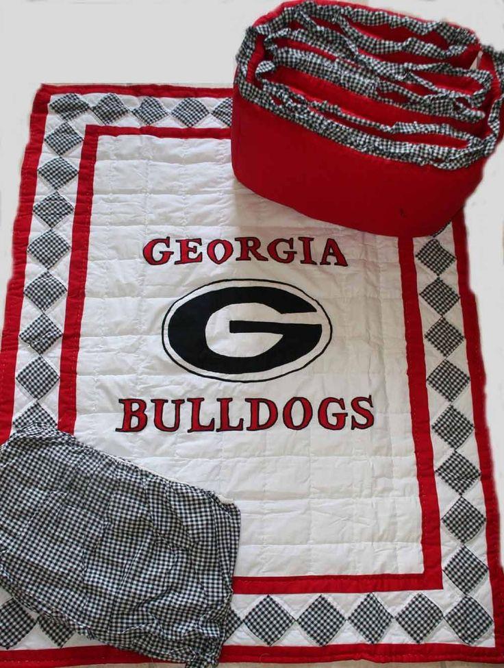 Georgia Bulldog Bedrooms | georgia quilted crib bedding set georgia bulldogs baby crib set cost ...