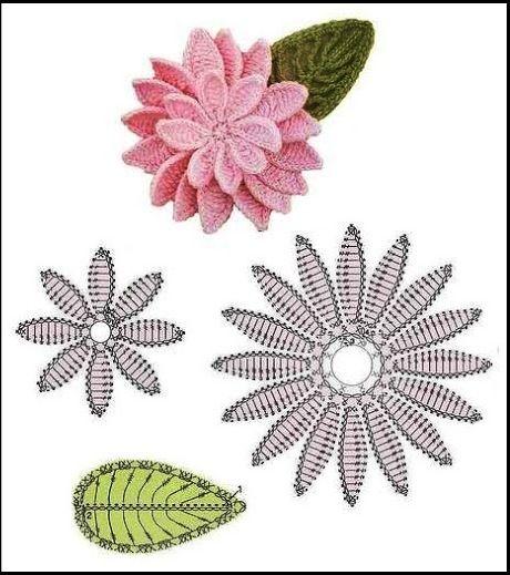 ☀CQ #crochet #crafts #DIY. Page here: http://tejiendoconamigas.blogspot.com/2013/03/flores-crochet.html