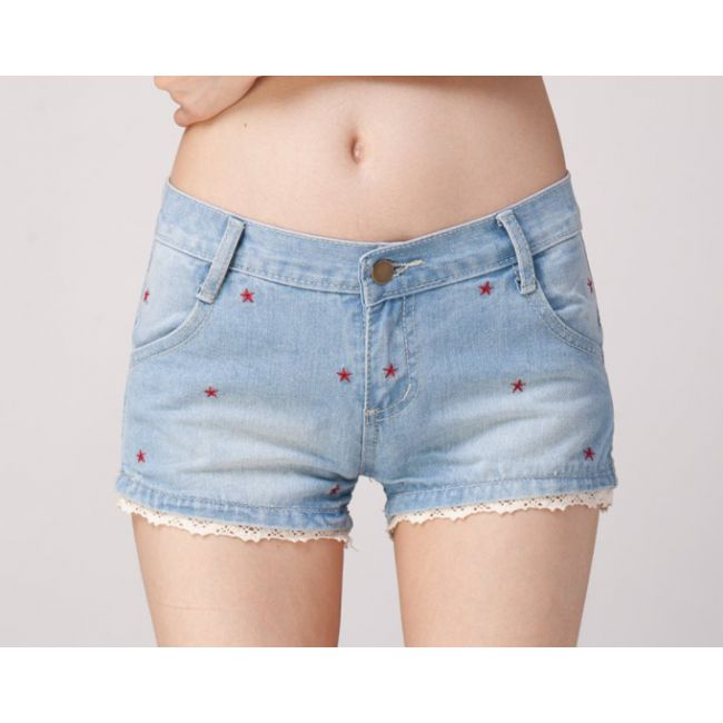 Red Stars White Lace Trimmed Denim #Shorts#chemjoy.com  #Free Shipping