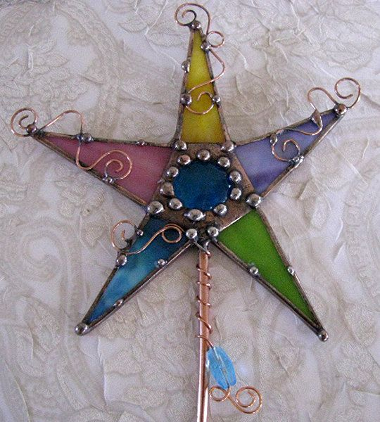 Magic Wand Stained glass and copper art Purple by Groovyglass, $34.00