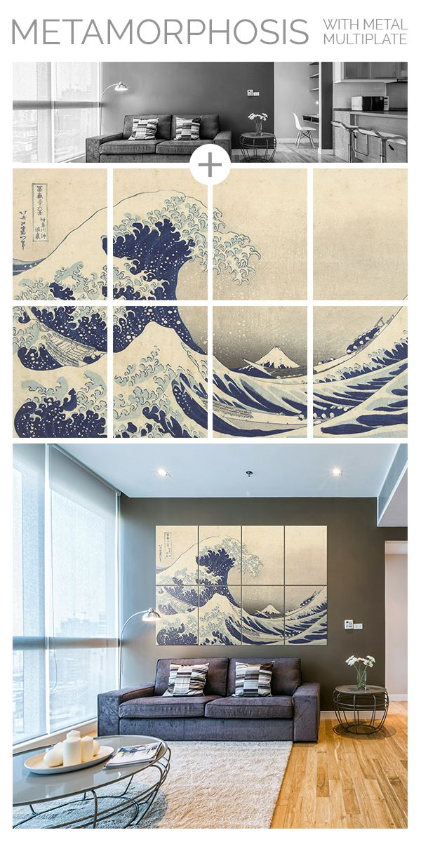 """The Great Wave off Kanagawa"" by the Japanese ukiyo-e artist Hokusai. Printed on large size metal plates to give your home an original oriental vibe. Click through to see more artworks printed on metal! #wallart"