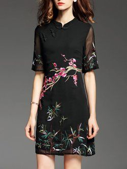Short Sleeve Vintage Embroidered Mini Dress