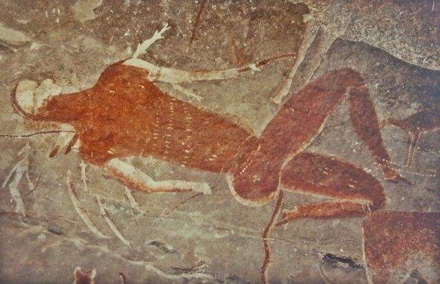 The Linton panel, one of the best preserved examples of southern African rock art, depicts the experiences of San medicine people while in trance. Now in the South African Museum, Cape Town.