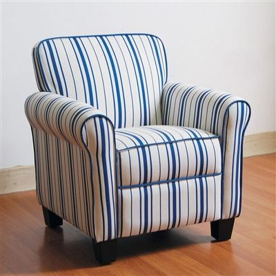 Best Bell Youth Accent Chair With Rolled Arms In Blue And White 400 x 300