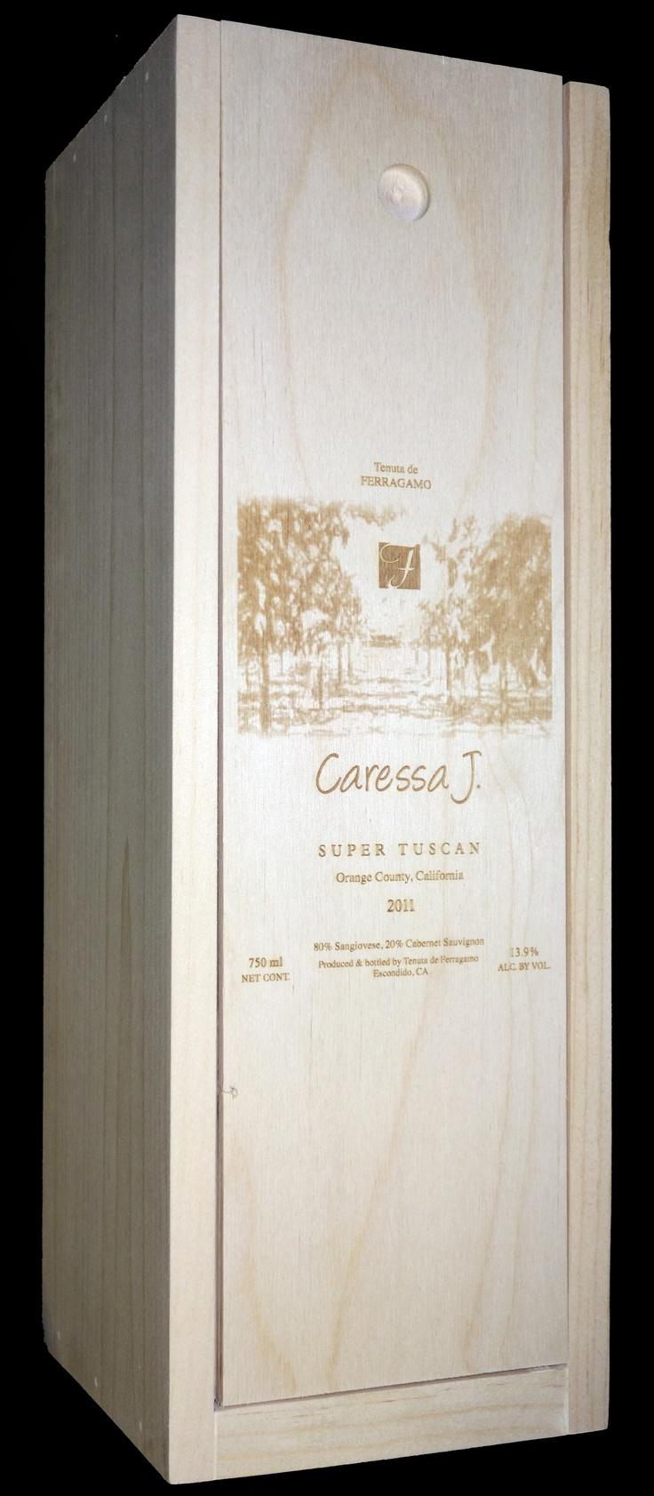 Caressa J. Ferragamo Vineyards Single Bottle Wooden Wine Crate