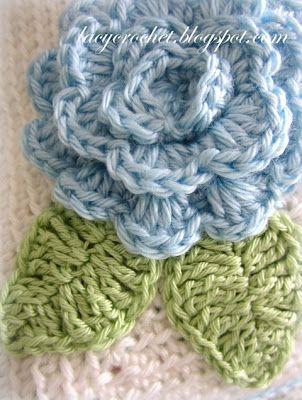 Simple Leaf Crochet, free pattern by Lacy Crochet. The flower pattern is here http://lacycrochet.blogspot.ie/2012/04/crochet-flower-tutorial.html