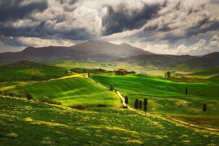 "Spring in Tuscany - Road from ""Gladiator"", Pienza, Tuscany, Italy"
