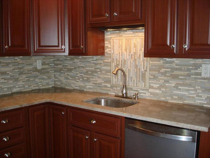 Kitchen  Small Stainless Steel Sink Plus Brown Mosaic Kitchen Backsplash Tile Plus Wooden Cabinets These Backsplash Styles will Change your Kitchens