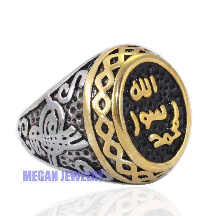 Wysoka jakość muzułmanin islam Prorok Muhammad pierścień ze stali nierdzewnej, turecki Sułtan pierścień