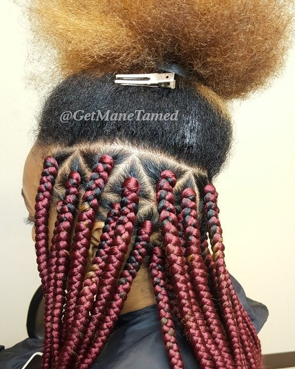 Triangle Part Box Braids Burgundy Box Braids Medium Box