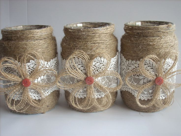 Vaso rustico matrimonio della tela da imballaggio vaso pizzo
