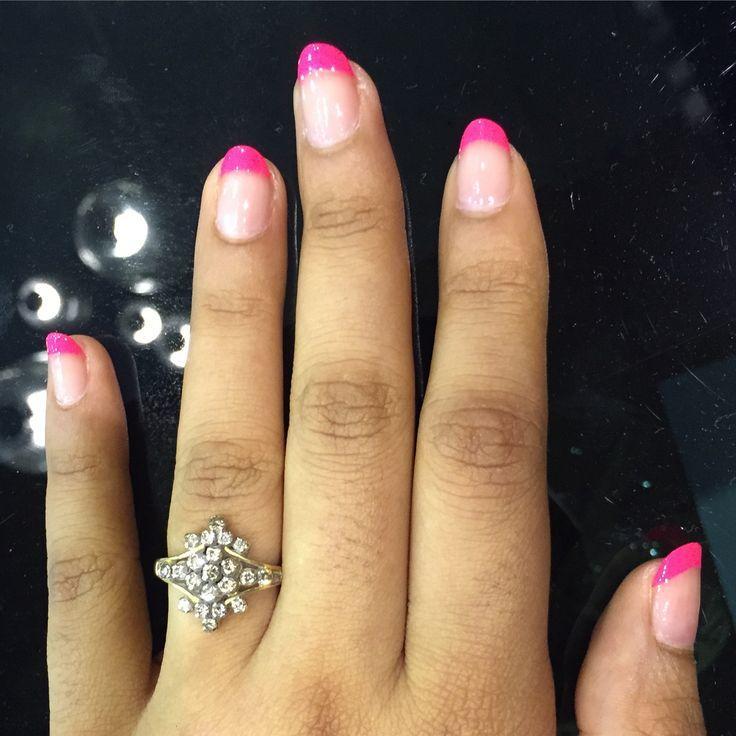 pink french nail polish. spring nail fun. nailoftheday nailart #notd