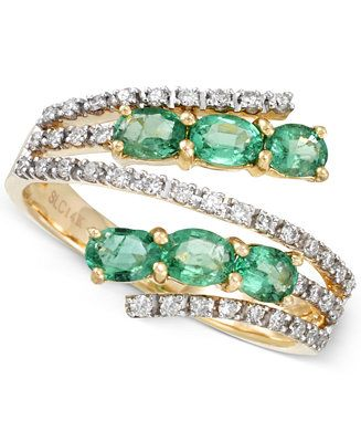 RARE Featuring GEMFIELDS Certified Emerald (7/8 ct. t.w.) and Diamond (1/4 ct. t.w.) Bypass Ring in 14k Gold - Emerald Rings - SLP - Macy's