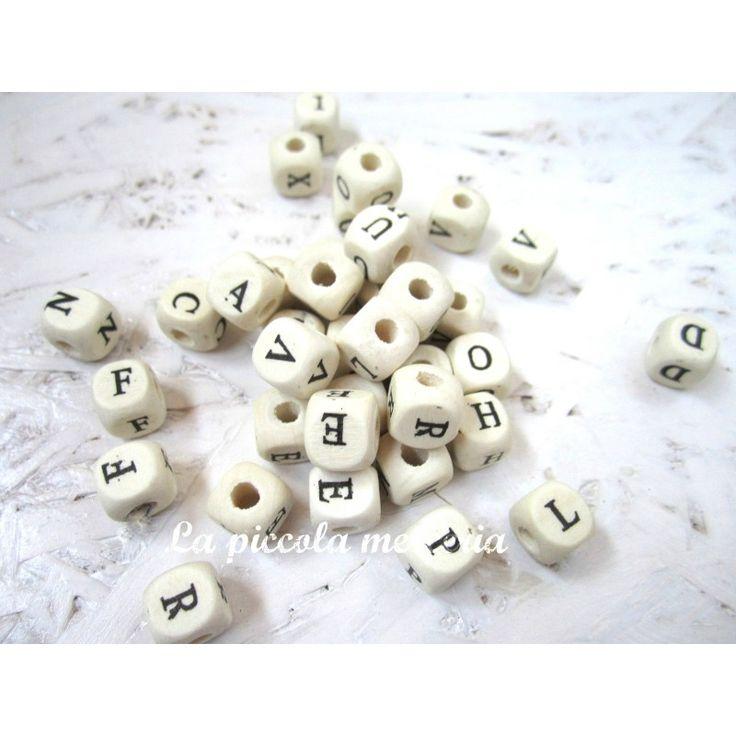 30 perle legno alfabeto lettere 10 mm cubetti catenelle portaciuccio perline