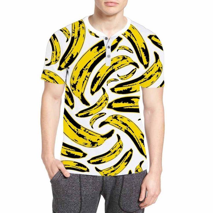 Henley Unisex T-shirt Banana Cartoon Fruit Pattern White #Expertees #Henley #banana #t-shirt #fashion #tees #fruits #food #minion #sale #apparel