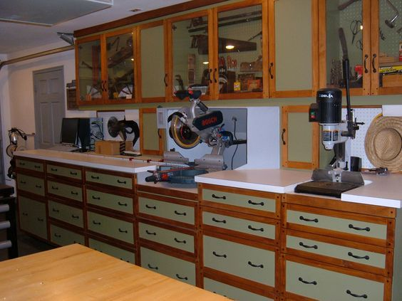 One Wall Workshop Woodworking Plan We Used Standard Garage Shop Cabinets That You Can Purchase