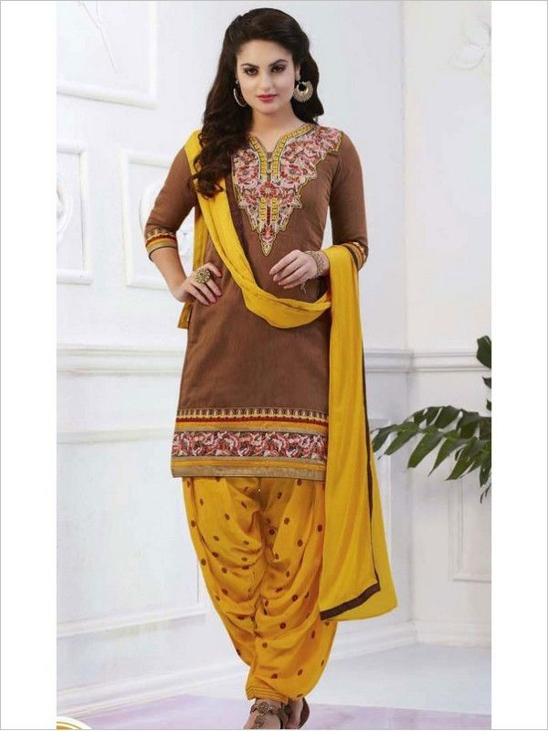 Brown Party Wear Art Silk Suit