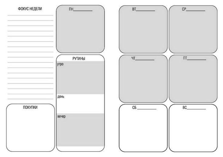 Лист №1: Планирование недели, главных дел и рутин | Flymama – приводя жизнь в порядок