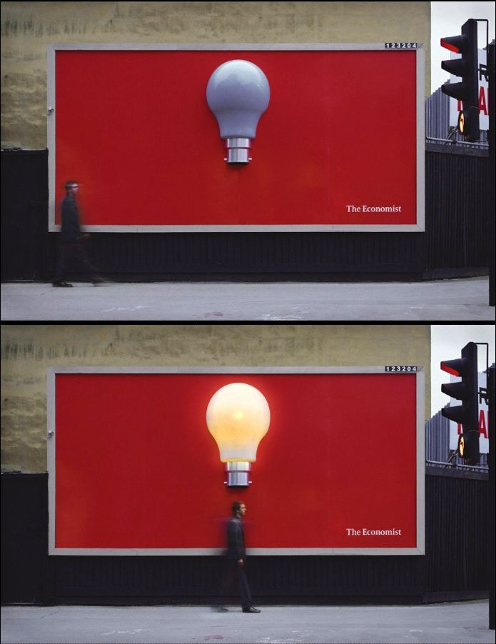 This creative ad for The Economist, an award-winning UK-based newspaper,  Uses a large, dark light bulb against a red background with the name of the newspaper in the corner, this seemingly simple billboard has a unique twist. Thanks to special sensors, the light bulb turns on when someone walks directly under it.