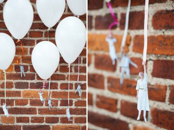 60 best party ideas diy balloon decorations images on pinterest b this would be so funny diy flying wedding couple balloons on brooklyn bride junglespirit Images