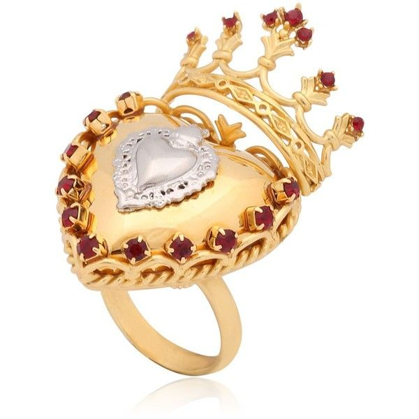 DOLCE & GABBANA Sacred Heart Ring (10 725 ZAR) ❤ liked on Polyvore featuring jewelry, rings, joias, gold, dolce&gabbana, heart jewelry, dolce gabbana jewelry, swarovski crystal rings and heart shaped rings