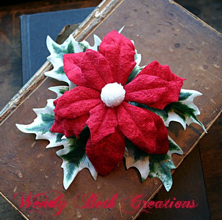 Poinsettia and Holly Christmas or Yule Hair Clip Fascinator or Hat Adornment for Steampunk Cosplay, Belly Dance Costuming or Holiday Parties