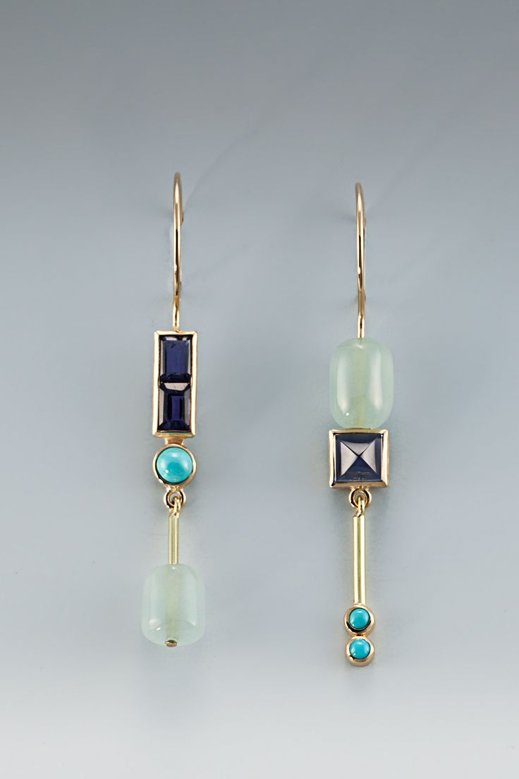 EARRINGS - 18KT, AQUA, IOLITE, TURQUOISE