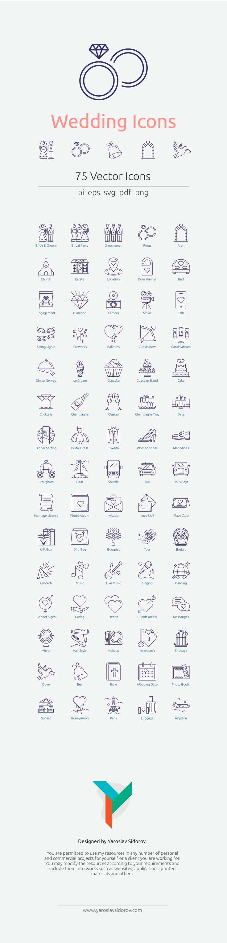 Wedding Icons in Vector and PNG